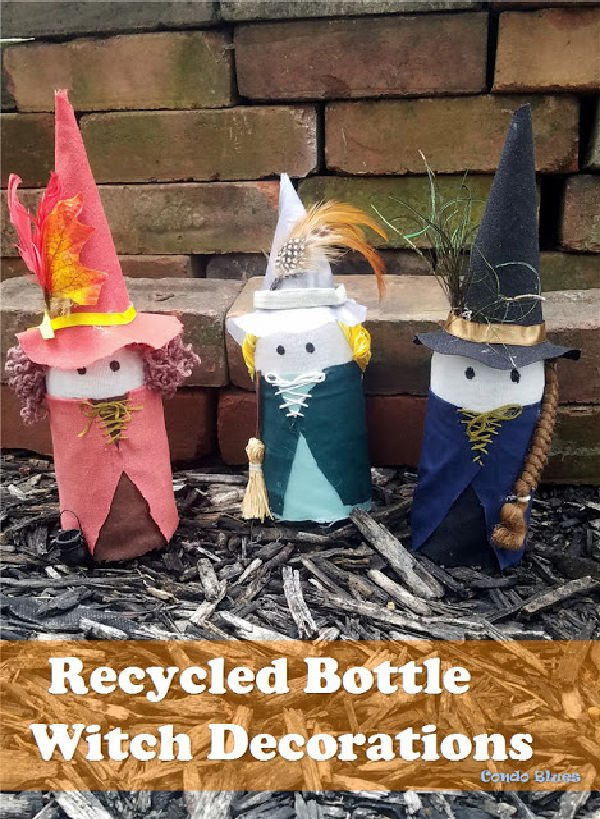 Halloween Witch craft idea using felt and recycled glass bottles.