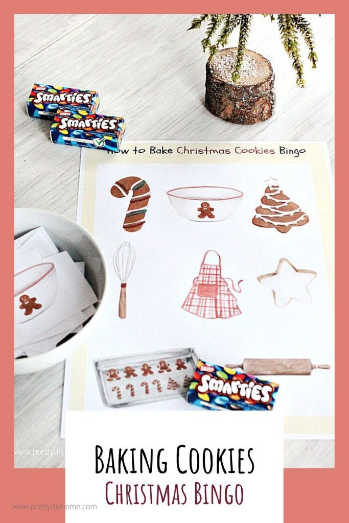 Baking themed bingo card with gingerbread cookies