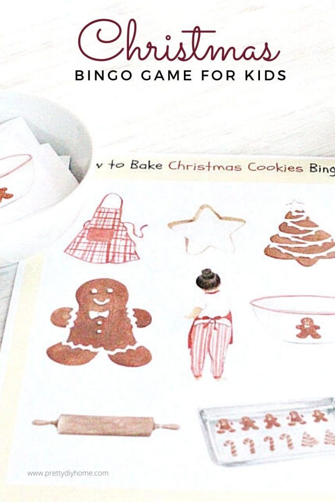 Downloadable Christmas bingo card game for kids themed on baking cookies.