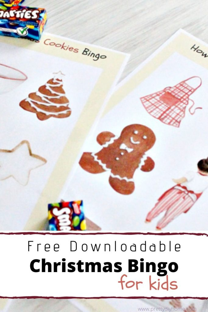 Baking cookies themed bingo card game for kids
