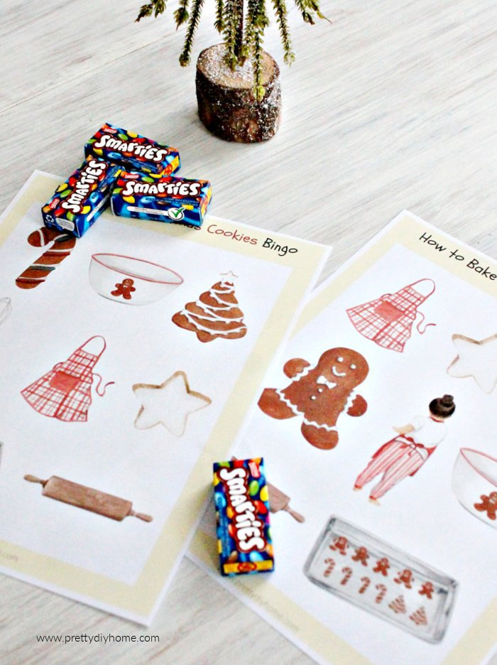 Free downloadable Christmas Bingo Cards with a cookie baking theme and smarties.