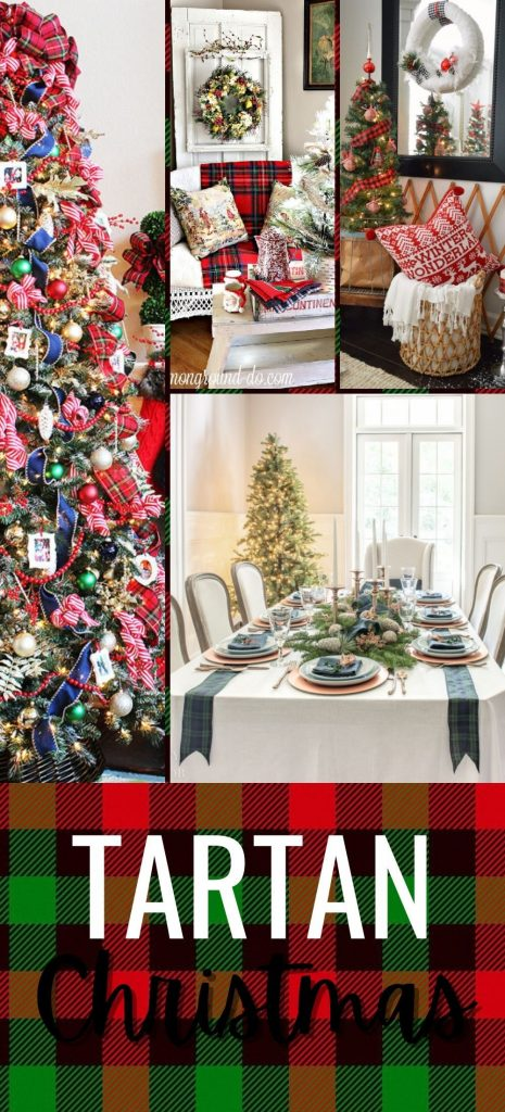 A collage of different rooms decorated for Christmas b