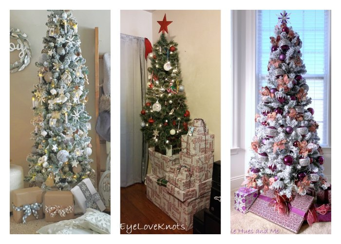 Christmas trees decorated in 3 different ways