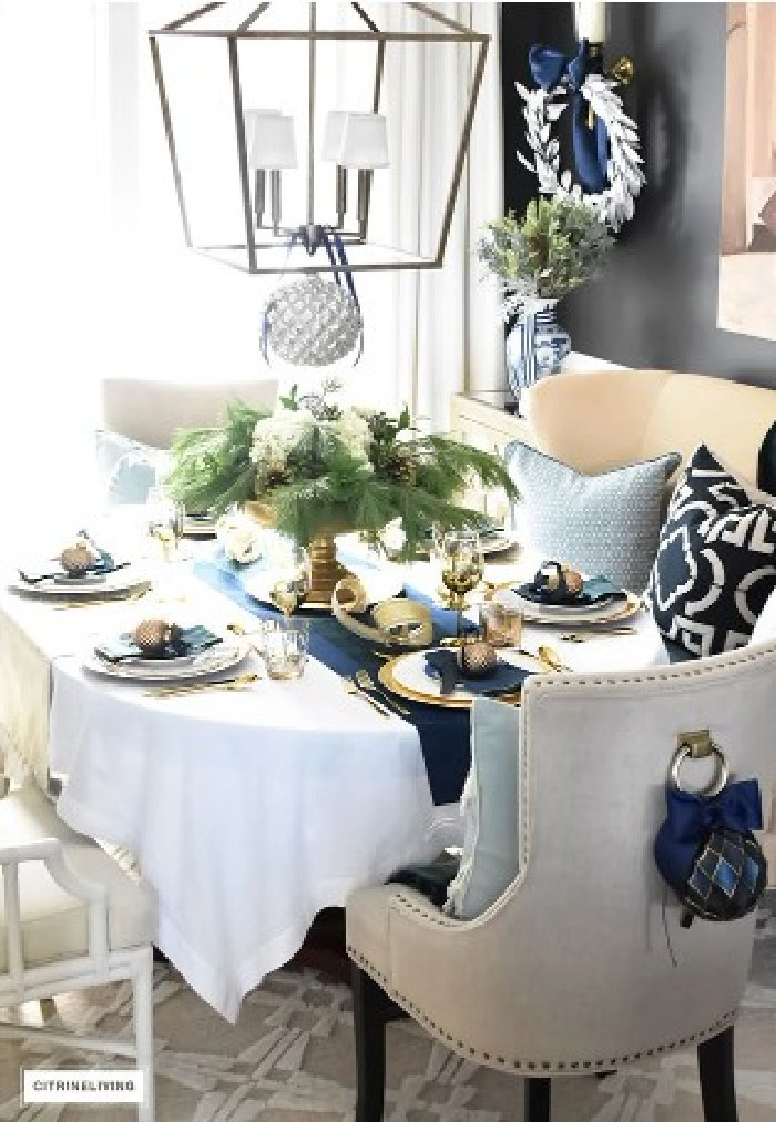 A classic Christmas Dining room with blue and green tartan.