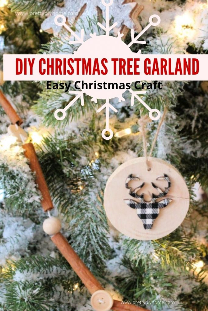 DIY Cinnamon Stick Christmas Tree Garland with natural wood beads, and buttons.