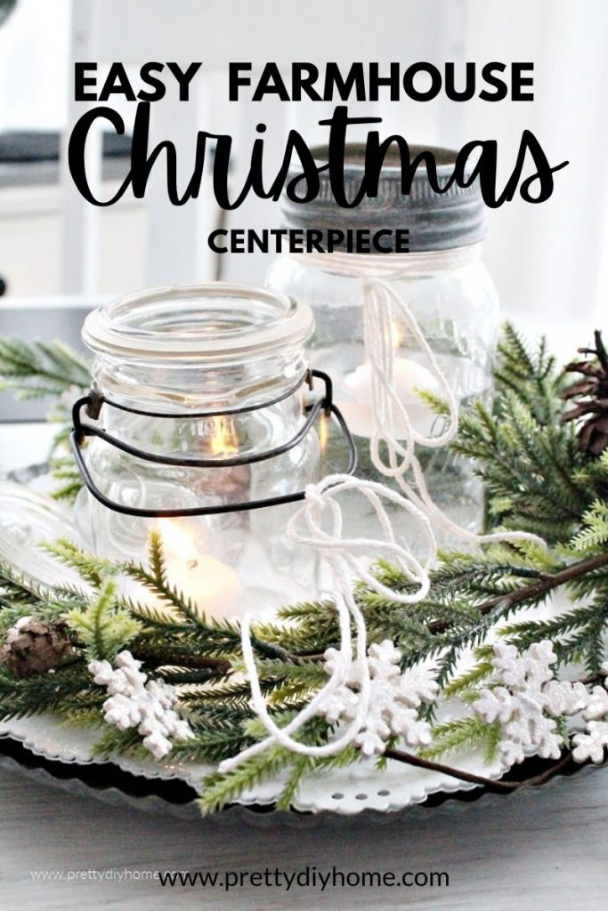 Easy DIY Christmas Centerpiece made with mason jars, floating candles and a galvanized tray.