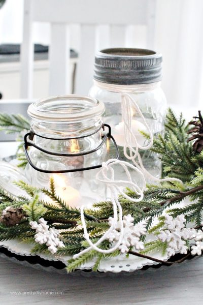 Inexpensive farmhouse DIY mason jar Christmas centerpiece