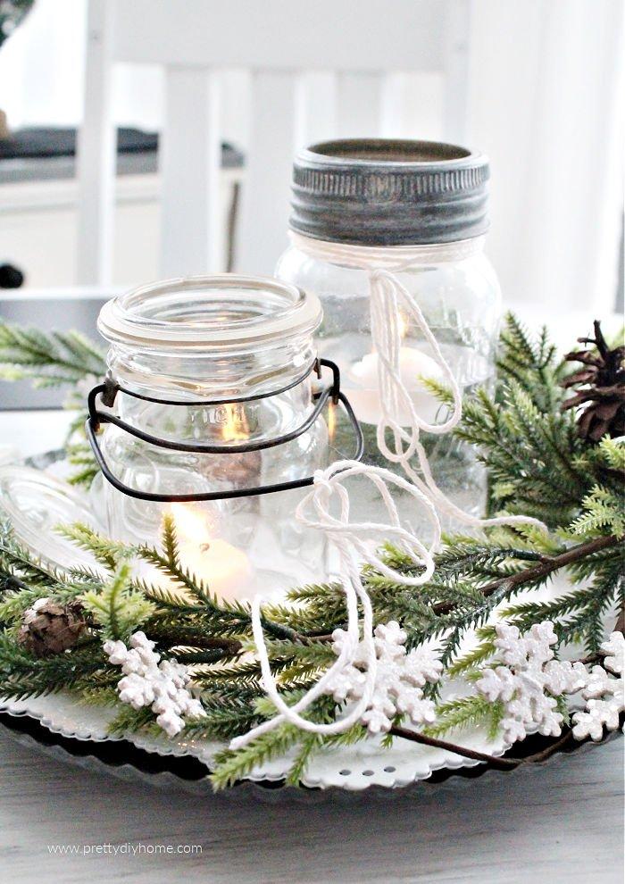 Inexpensive farmhouse DIY mason jar Christmas centerpiece