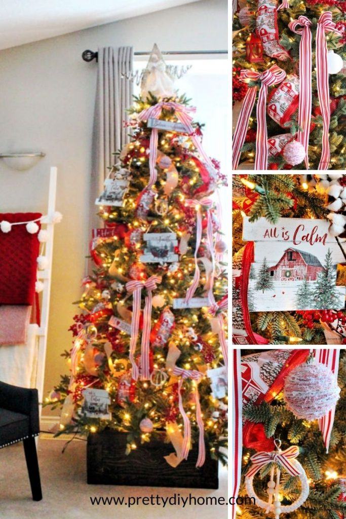 Red and White Farmhouse Christmas tree with lots of ribbon.