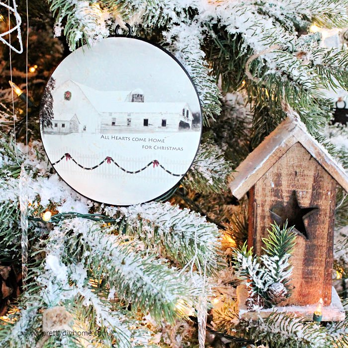 Christmas tree ornaments with barns for a farmhouse Christmas tree