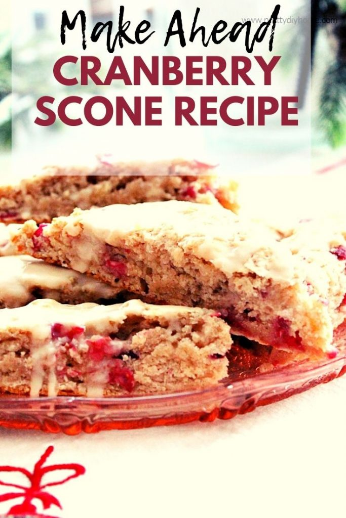 Moist easy to make cranberry scones with a vanilla glaze. Scones are on a pretty pink plate for Christmas morning breakfast.