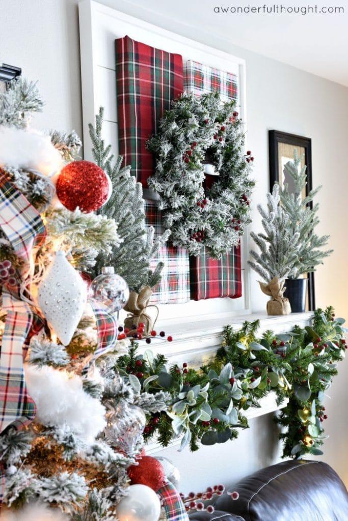 Tartan Plaid Christmas tree and easy tartan plaid artwork over a mantel.