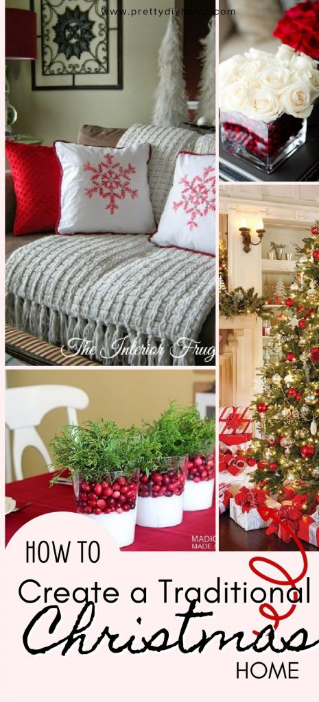 Living room, dining room, dressers, and front porch decorated for Christmas in a Traditional Christmas Style