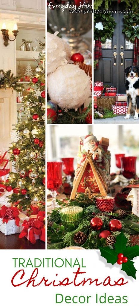 A collection of gorgeous traditional Christmas decorating ideas for the livingroom, dining room, mantel, and bannisters
