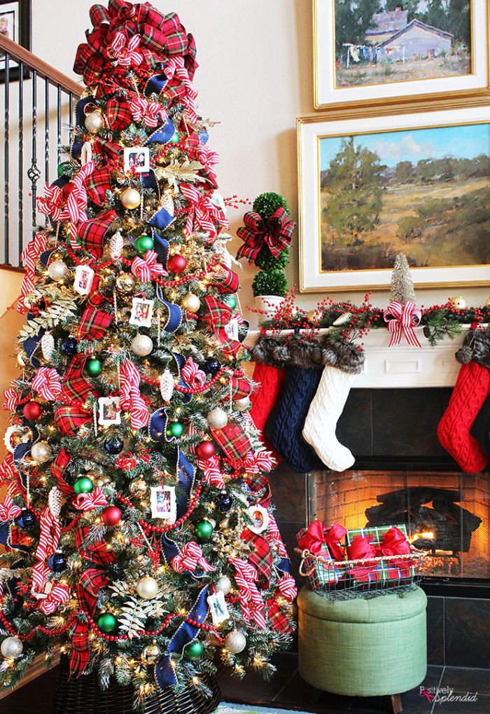 Traditional Plaid Christmas tree with lots of various colours.