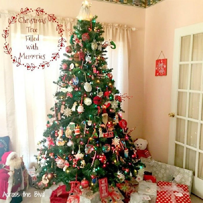 Traditional Christmas tree with sentimental ornaments