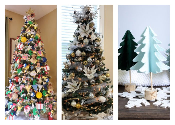three christmas trees in different styles