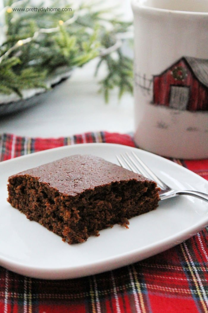 A slice of gingerbread cake served plain.
