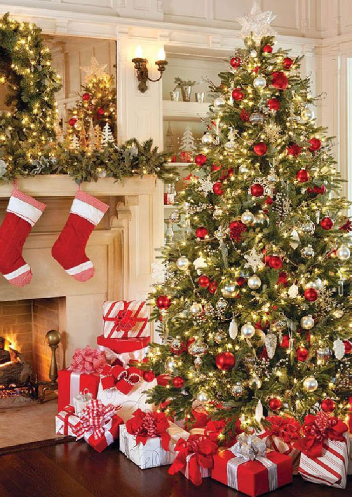 Traditional Decorated large Christmas tree in red, white and green.