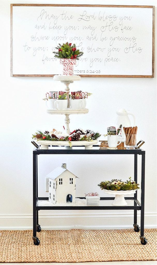 DIY Christmas Hot Chocolate bar on a minimalist metal roll cart.