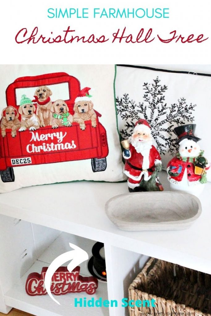 A front foyer bench decorated with cushions for Christmas