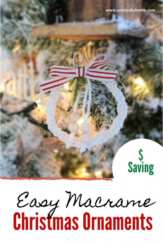 White wool and grain sack ribbon made into a farmhouse wreath ornament in white and red.