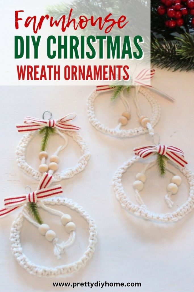 Farmhouse style DIY Christmas tree ornament with white wool, grain sack ribbon and small wooden beads.