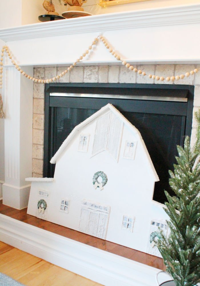 Large barn wall art craft for a Christmas fireplace