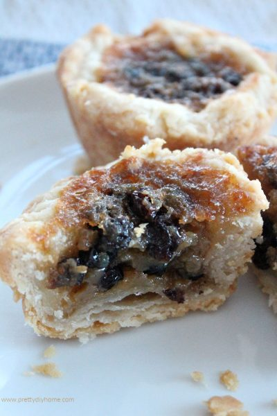 the best butter tarts ever, cut open with a flakey crust and filled with currants.