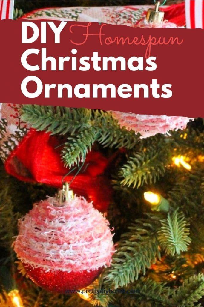 Pink wool homespun Christmas ornament craft ideas hanging on a Christmas tree
