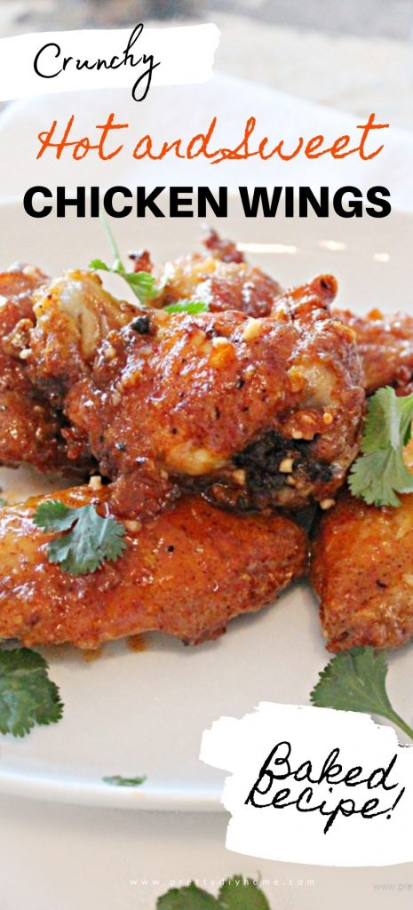 Hot and Sweet oven baked recipe for chicken wings, on a platter with six homemade wings.