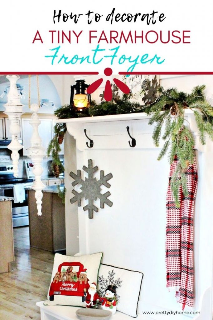 A bright and cheerful Farmhouse Christmas foyer with hall tree