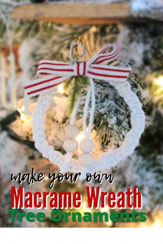 Mini wreath Christmas ornaments in a farmhouse style with small wooden beads.