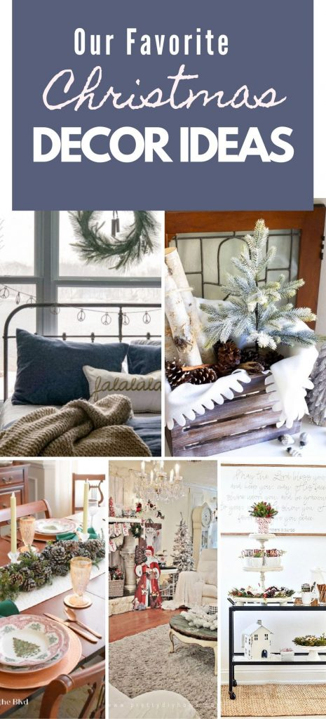 A collage of DIY Christmas home decor for the bedroom, kitchen, livingroom and a hot cocoa station.