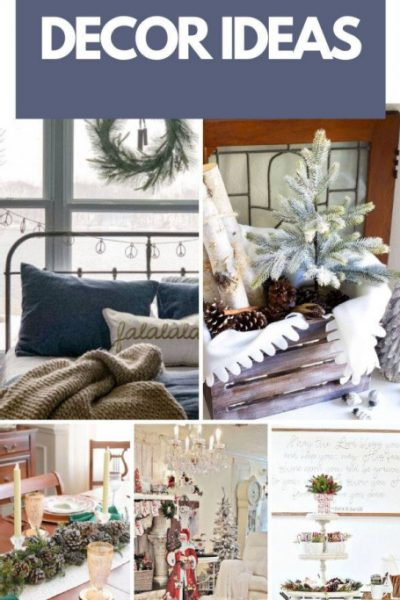 DIY Christmas Decor ideas including a Christmas box, a Christmas bedroom, Christmas livingroom in white