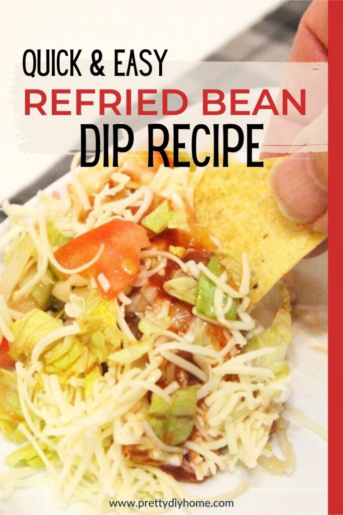 A easy to make taco dip recipe being served with taco chips.
