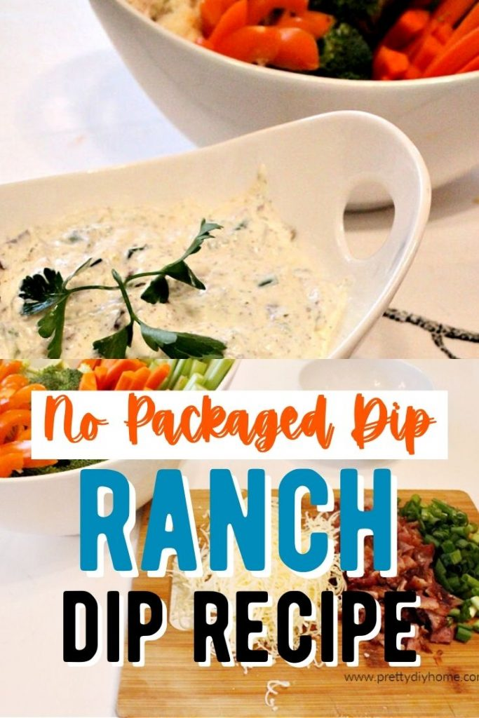 A large bowl of no package dip loaded ranch dressing recipe, served with lots of fresh vegetables