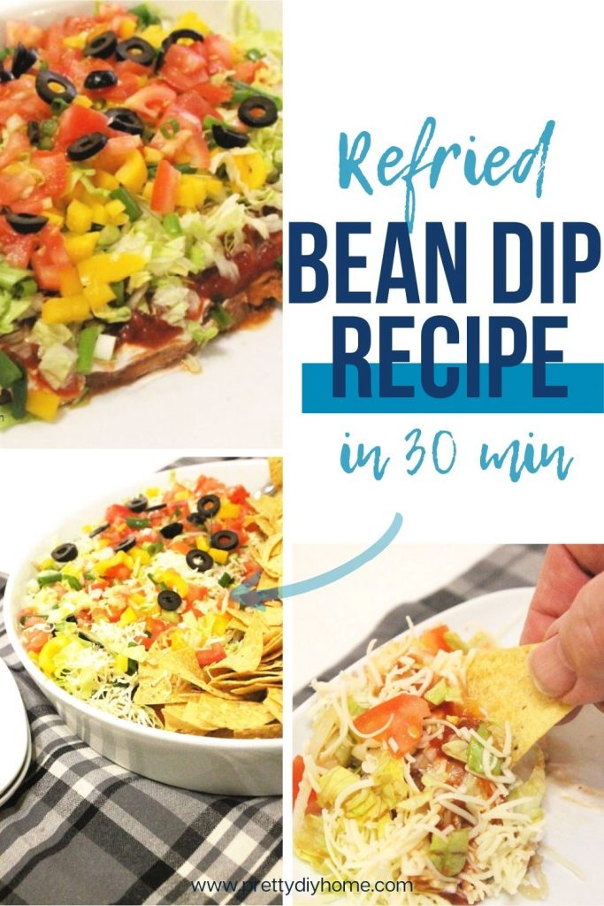 A seven layer dip recipe with beans, taco seasoning, cheese, salsa, sour cream, lettuce, tomatoes, and olives
