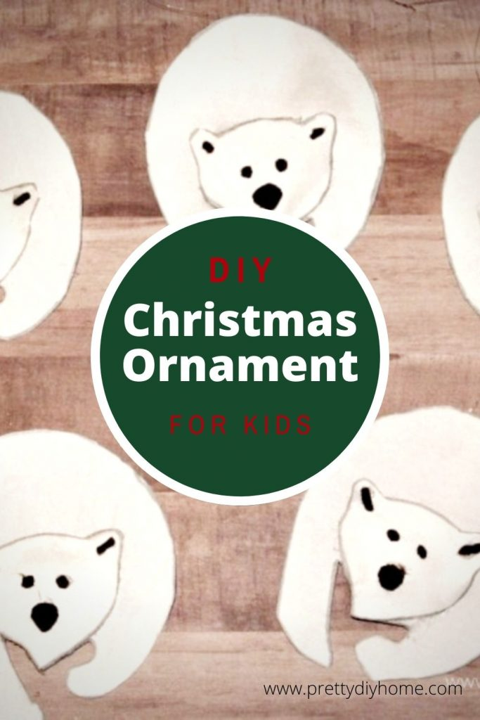 Four polar bear handmade christmas tree ornaments using scrap fabric and free pattern