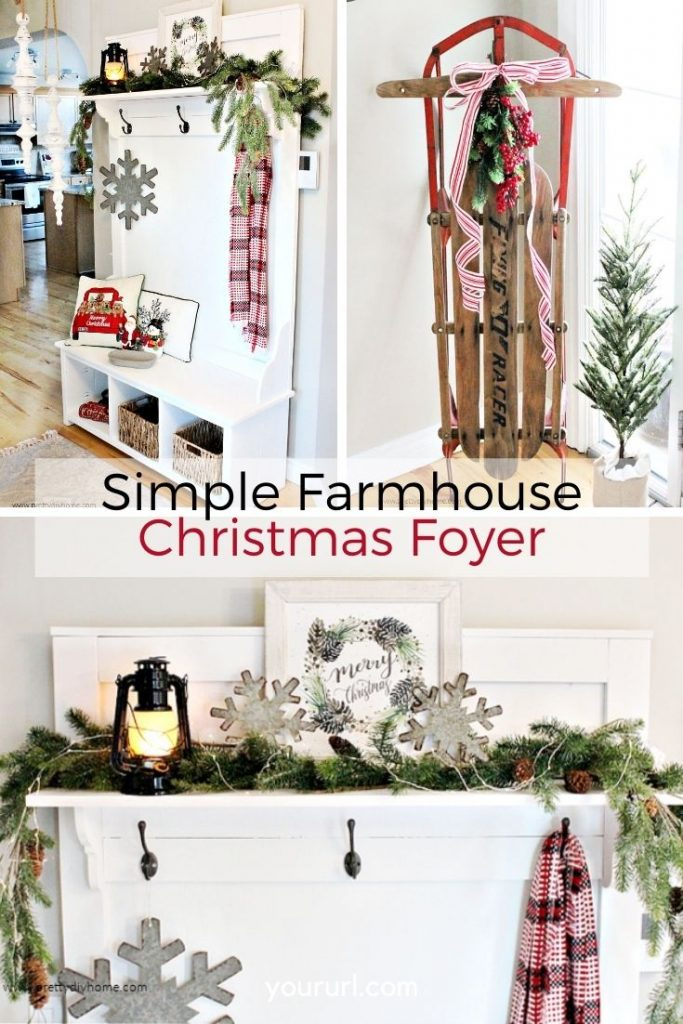 Simple farmhouse decor ideas for the entry.