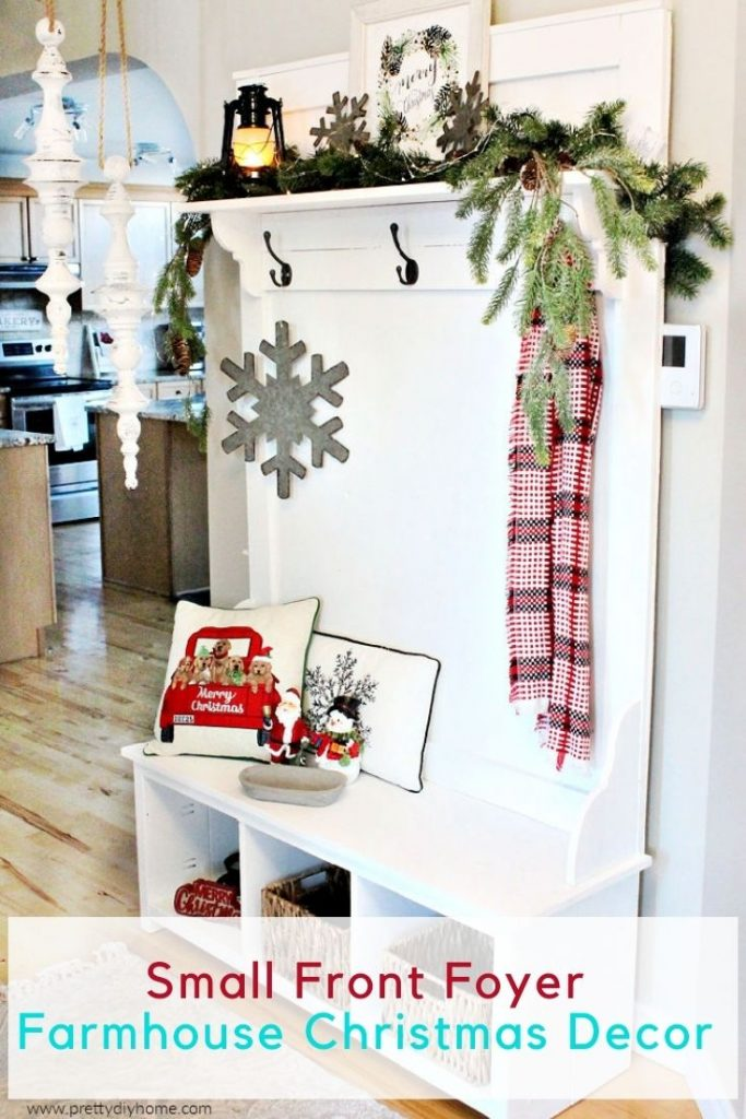 A new DIY Farmhouse Hall tree decorated for Christmas