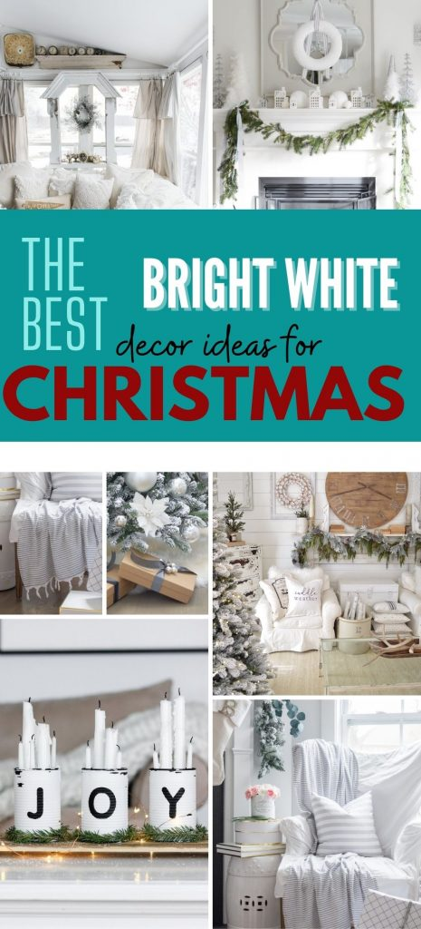 A collection of All White Christmas Decor some are rustic others are Elegant both styles are cozy.