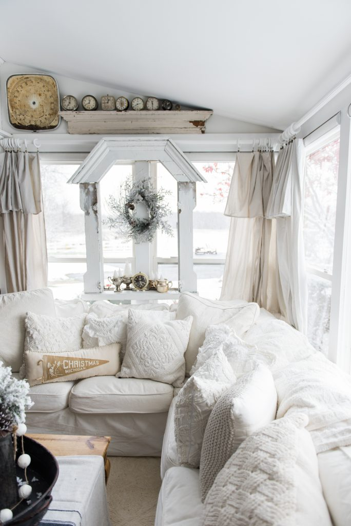Rustic white Christmas Decor living room with white sheet