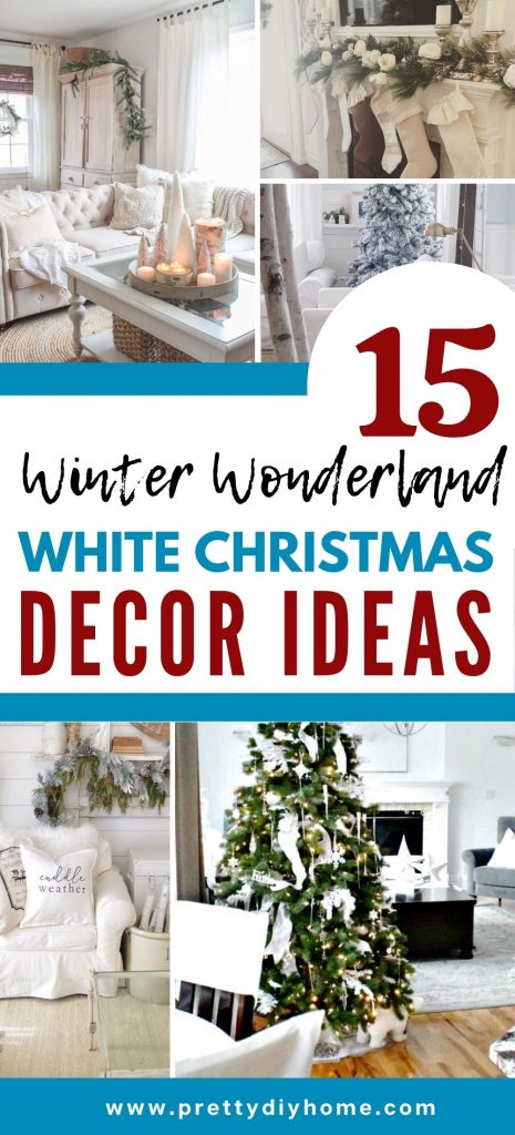 A collection of white Christmas decor ideas, in both elegant and farmhouse styles. With Christmas trees mantels, living rooms and table settings.
