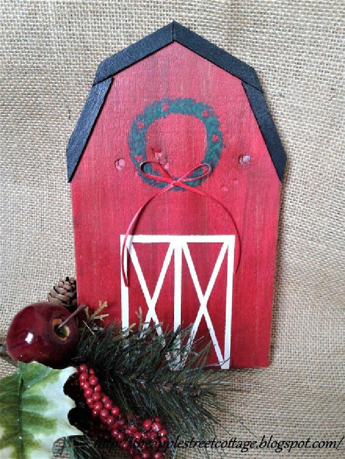 Red Barn Handmade Christmas Ornament DIY craft idea
