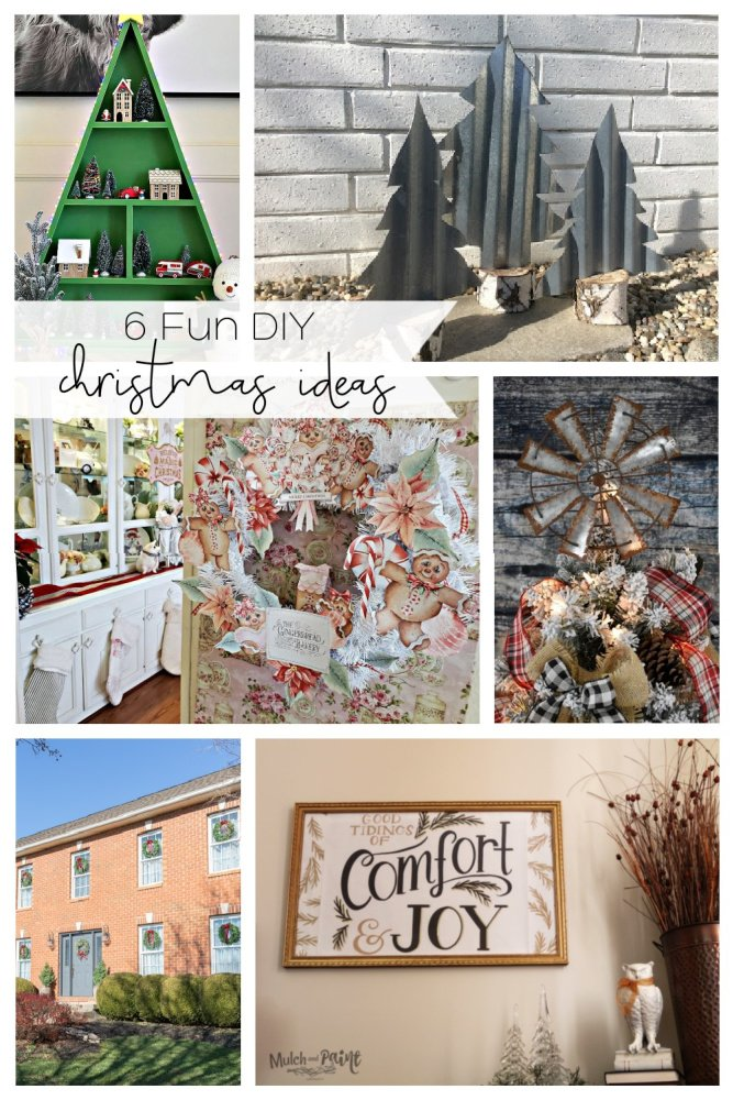 DIY Christmas ornament collage with a Christmas star, a christmas living room, diy Christmas wall art, and a green Christmas shelf
