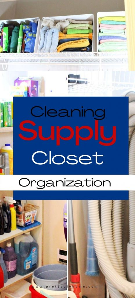 A small cleaning closet filled with cleaning supplies. There is wording on the front that says Cleaning Supply Closet Organization.