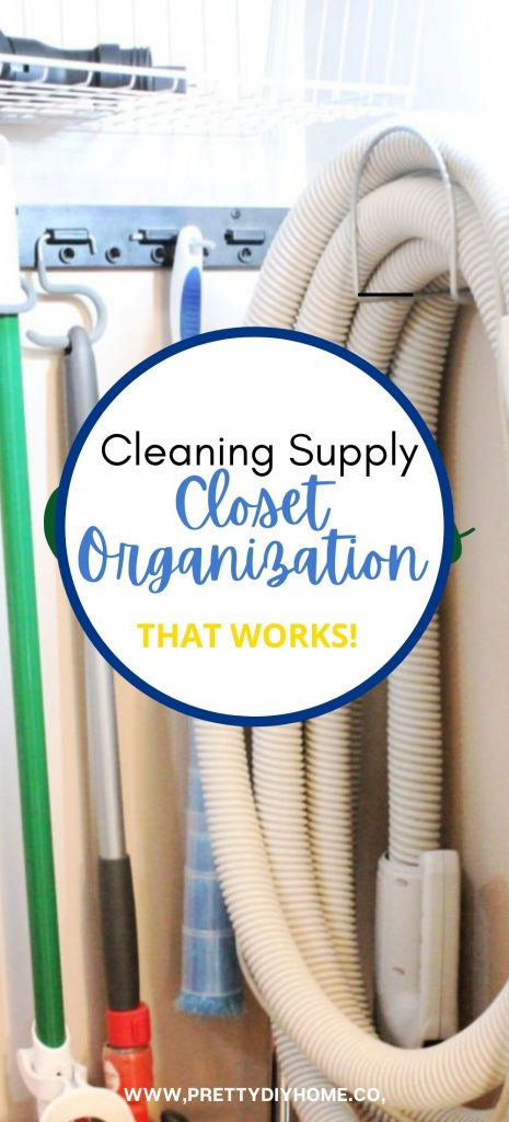 A cleaning closet that is well organized with lots of light, cleaning supplies, vacuum hose, rags, brooms, dusters, and mops.