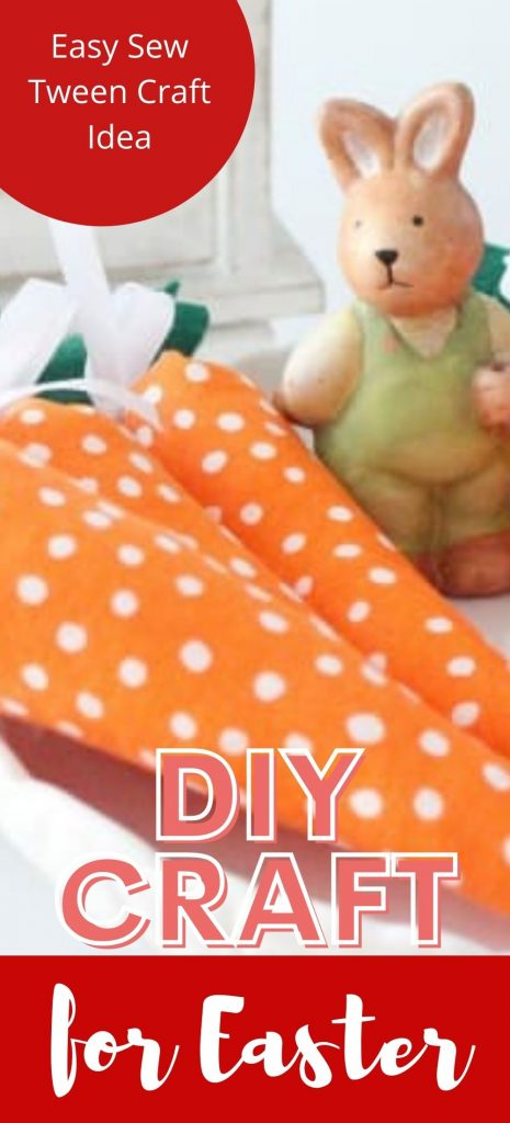 Three DIY fabric carrots with an Easter bunny