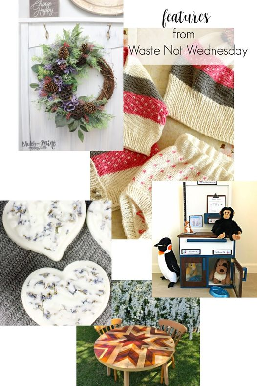Handmade wreath, crochet baby outfit, lavendar bath bombs collage for the Waste Not Wednesday link party